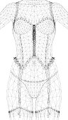 Wireframe polygonal girl in a corset. Front view. 3D. Vector illustration