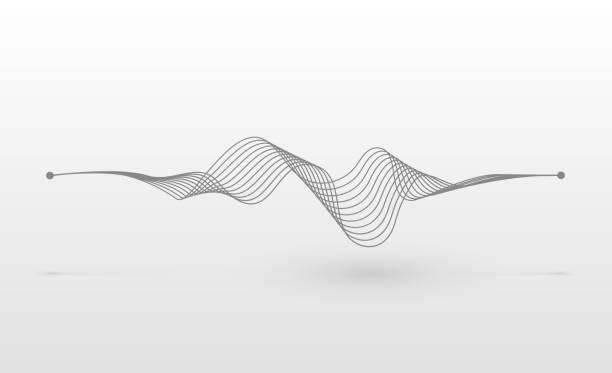 Wireframe sound wave vector art illustration