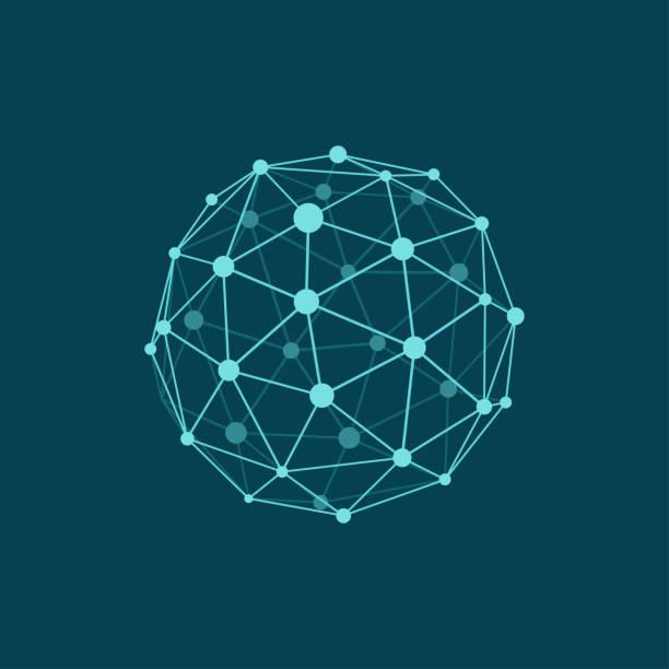 kula szkieletowa na ciemnoniebieskim tle. abstrakcyjny geometryczny obiekt wielokątny z połączonymi liniami i kropkami. kolory płaszczyzny - sieć komputerowa stock illustrations
