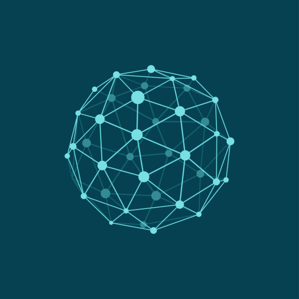 Wireframe sphere on dark blue background. Abstract geometric polygonal object with lines and dots connected. Plane colors Vector illustration of wireframe sphere on dark blue background. Abstract geometric polygonal object with lines and dots connected. Plane colors computer network stock illustrations