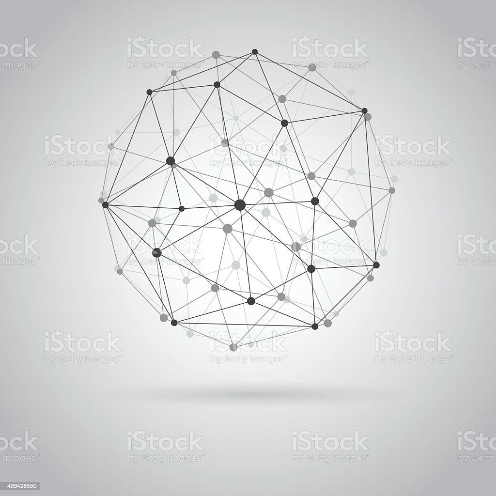 Wireframe sphere. vector art illustration