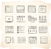 Website wireframing icons