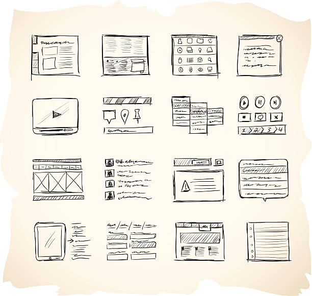 Wireframing Icons 2 Website wireframing icons website wireframe stock illustrations