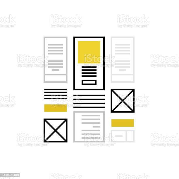 Ikona Monoflatu Wireframing - Stockowe grafiki wektorowe i więcej obrazów Szkielet strony internetowej