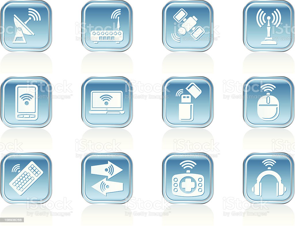 Wireless and communication technology icons royalty-free stock vector art