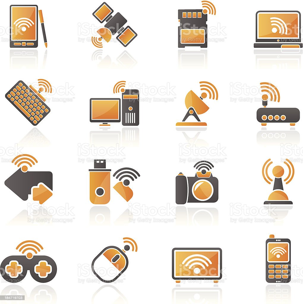Wireless and communications icons royalty-free stock vector art