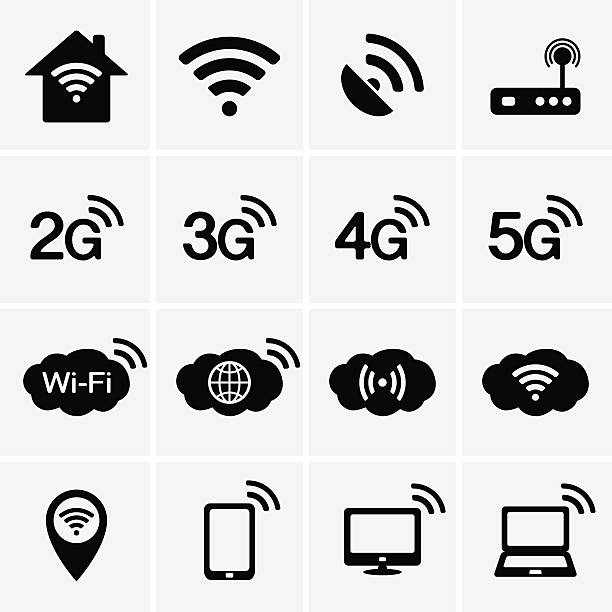 Wireless and Wifi icons. 2G, 3G, 4G and 5G vector art illustration