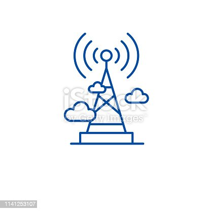 Wireless broadcasting  line concept icon. Wireless broadcasting  flat  vector website sign, outline symbol, illustration.