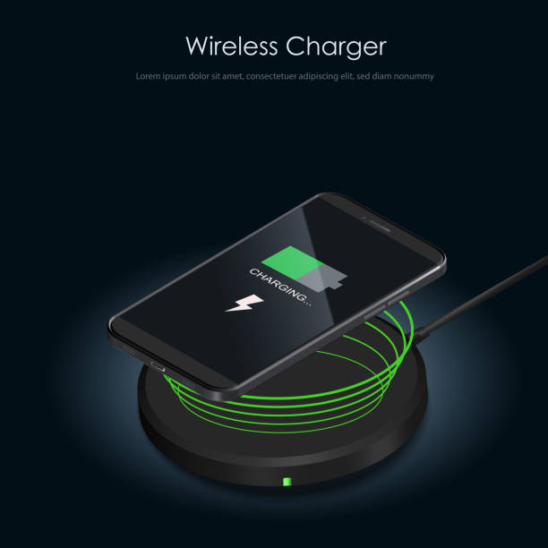 Wireless Charger banner. Realistic modern black smartphone isolated, borderless and no home button. Charging battery on charging pad. Wireless charging technology concept on white background. Wireless Charger banner. Realistic modern black smartphone isolated, borderless and no home button. Charging battery on charging pad. Wireless charging technology concept on white background. cell phone charger stock illustrations