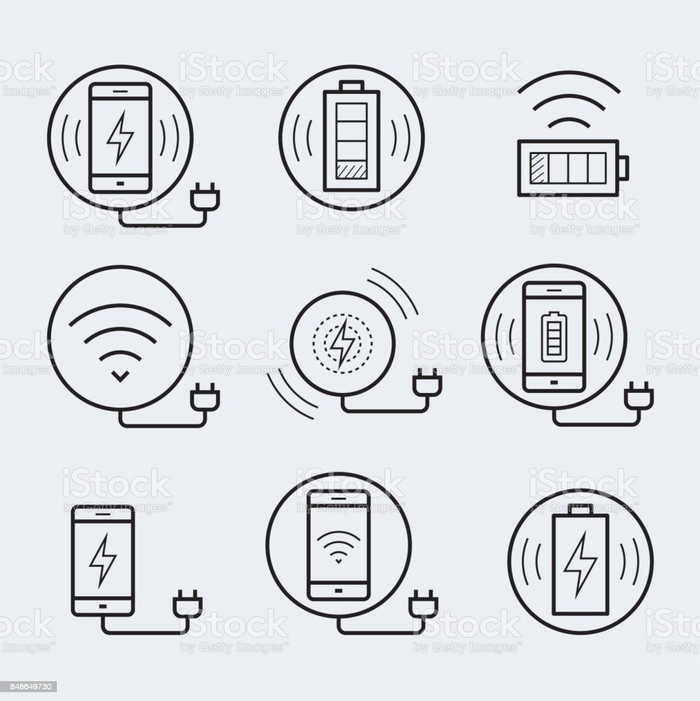 Wireless charger for smartphone or tablet icon set vector art illustration
