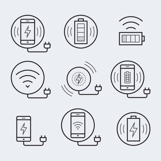 Wireless charger for smartphone or tablet icon set Wireless charger for smartphone or tablet icon set cell phone charger stock illustrations