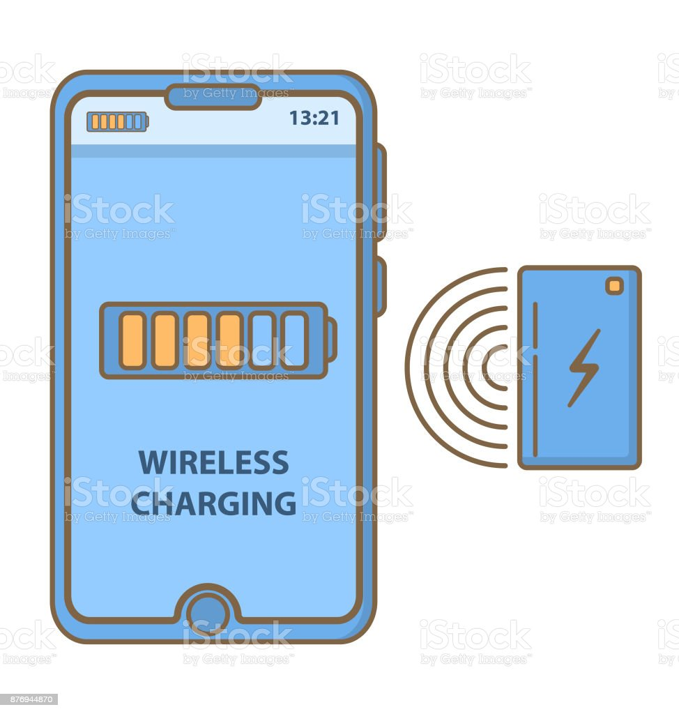 Wireless charging of the smart phone.Inductive charging station.charge batteries the device.Vector flat linear. vector art illustration