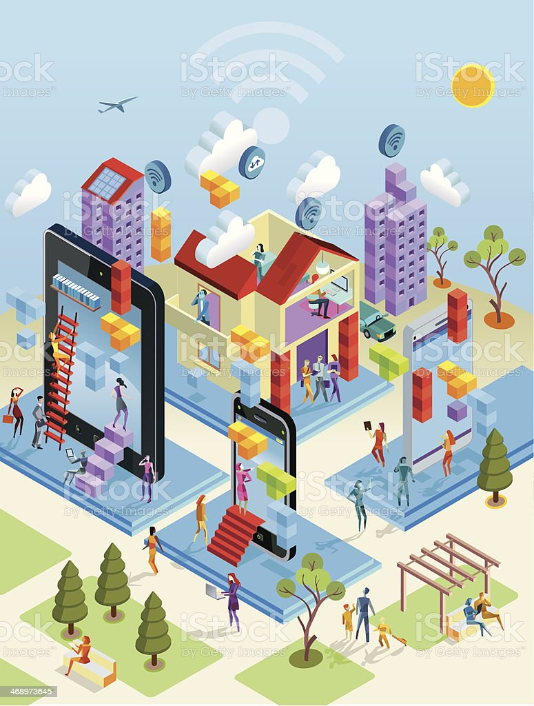 Wireless City in Isometric View vector art illustration