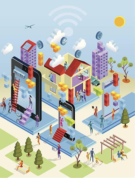 アイソメトリックワイヤレスの街の眺め - オフィス外勤務点のイラスト素材/クリップアート素材/マンガ素材/アイコン素材