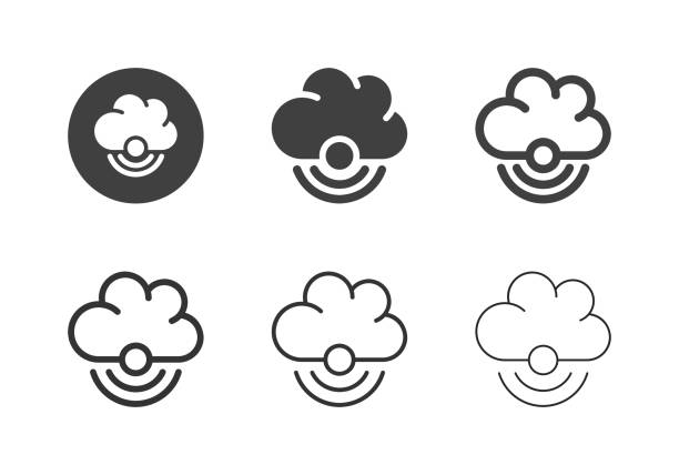 Wireless Cloud Computing Icons - Multi Series vector art illustration