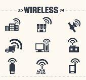 Wireless & communication icon set,vector