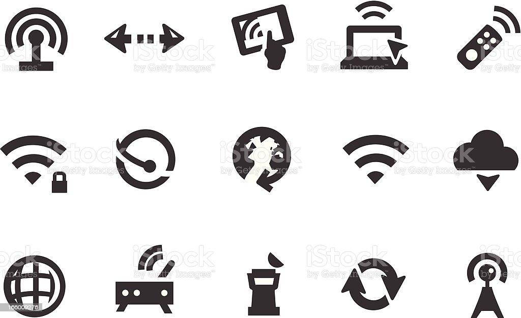 Wireless Communication Icons vector art illustration