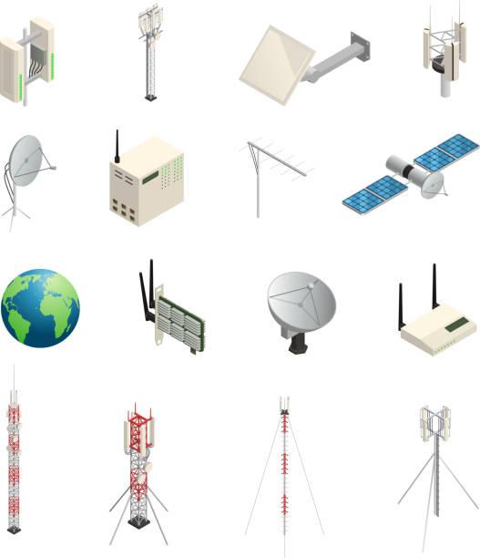 drahtlose Kommunikation isometrische Symbole – Vektorgrafik