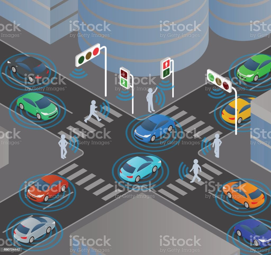 wireless communication of vehicles and signals, pedestrians, traffic monitoring system vector art illustration