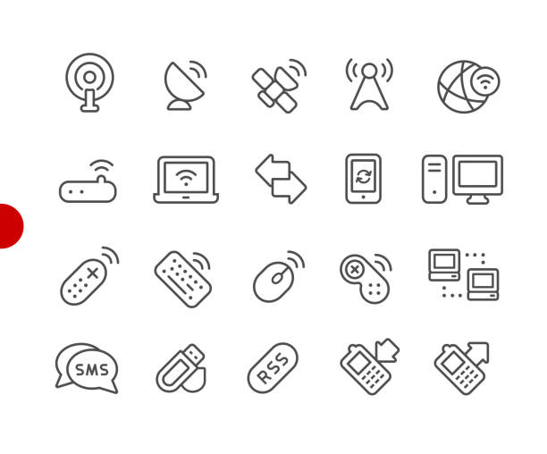 Wireless Communications Icons // Red Point Series Vector line icons for  your digital or print projects. repeater tower stock illustrations