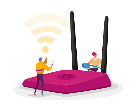 Wireless Connection, Modern Technology Concept. Tiny Male Characters Set Up and Use Wifi Router. People Surfing Internet