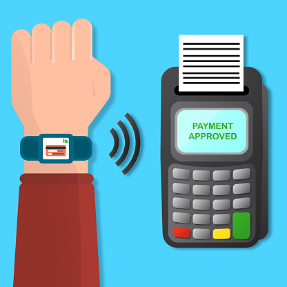 Wireless, contactless or cashless payments with smart watch stock illustration