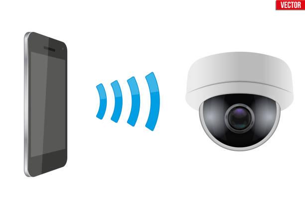stockillustraties, clipart, cartoons en iconen met draadloos besturen cctv bewakingscamera - alarm, home,