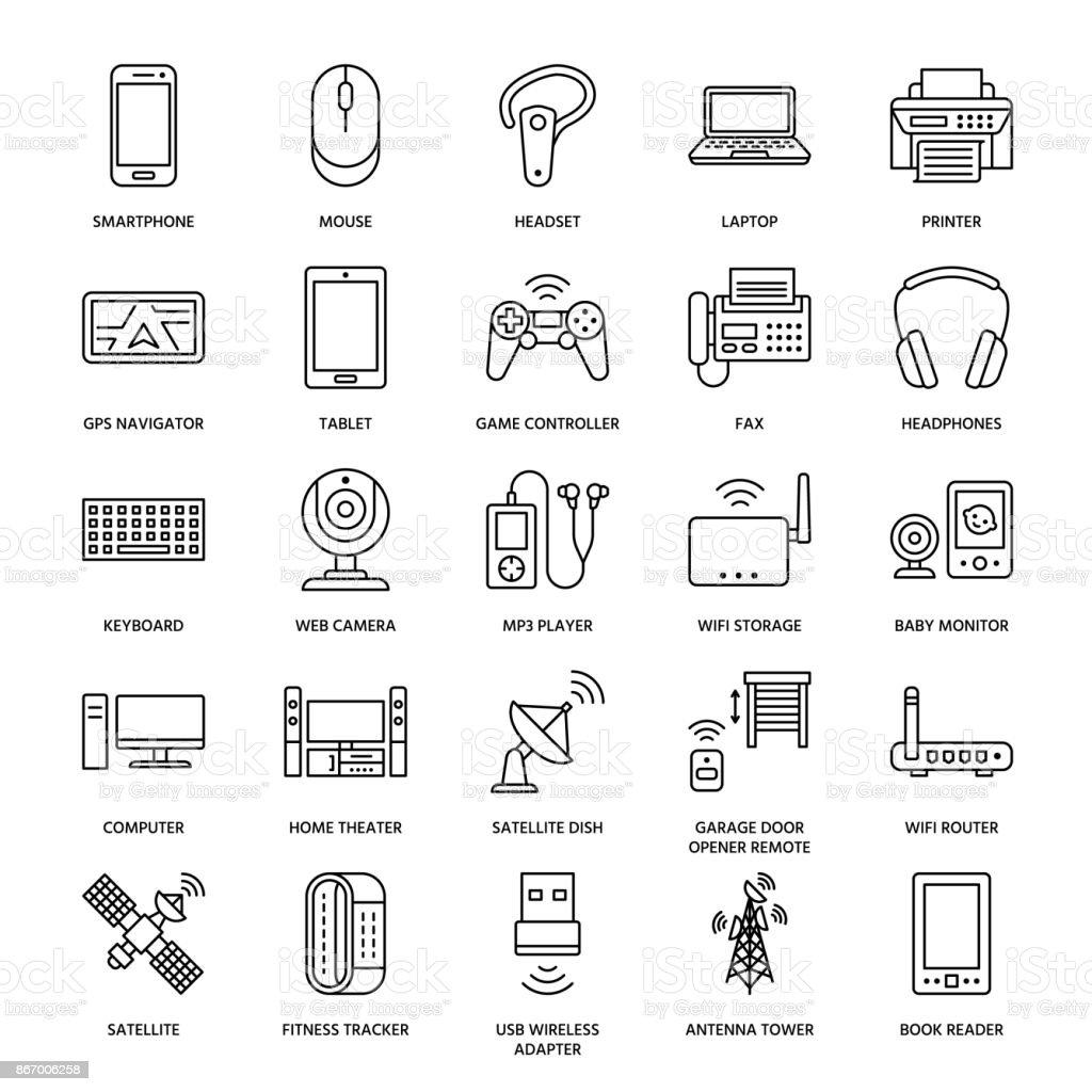 Drahtlose Geräte Flache Linie Symbole Wifi Internet Verbindung ...
