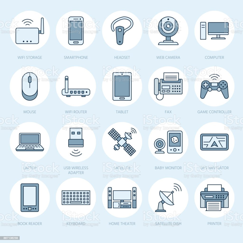 Wireless devices flat line icons wifi internet connection technology wireless devices flat line icons wifi internet connection technology signs router computer keyboard keysfo Images