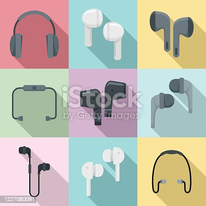 Wireless earbuds icons set. Flat set of wireless earbuds vector icons for web design
