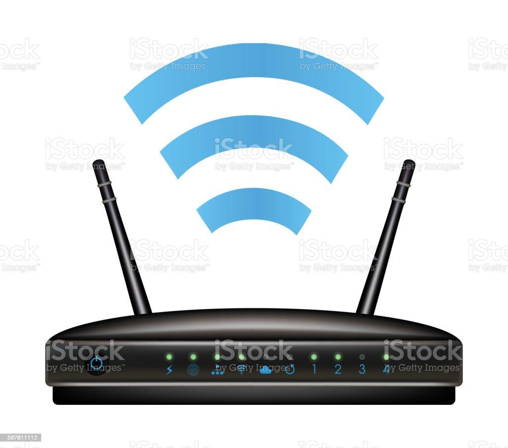 wireless ethernet modem router vector art illustration