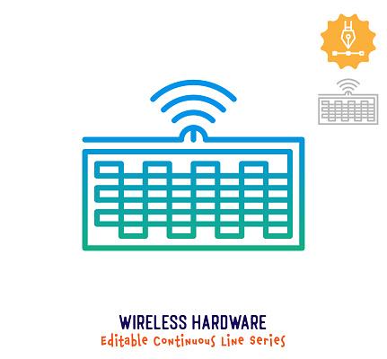 Wireless Hardware Continuous Line Editable Stroke Icon