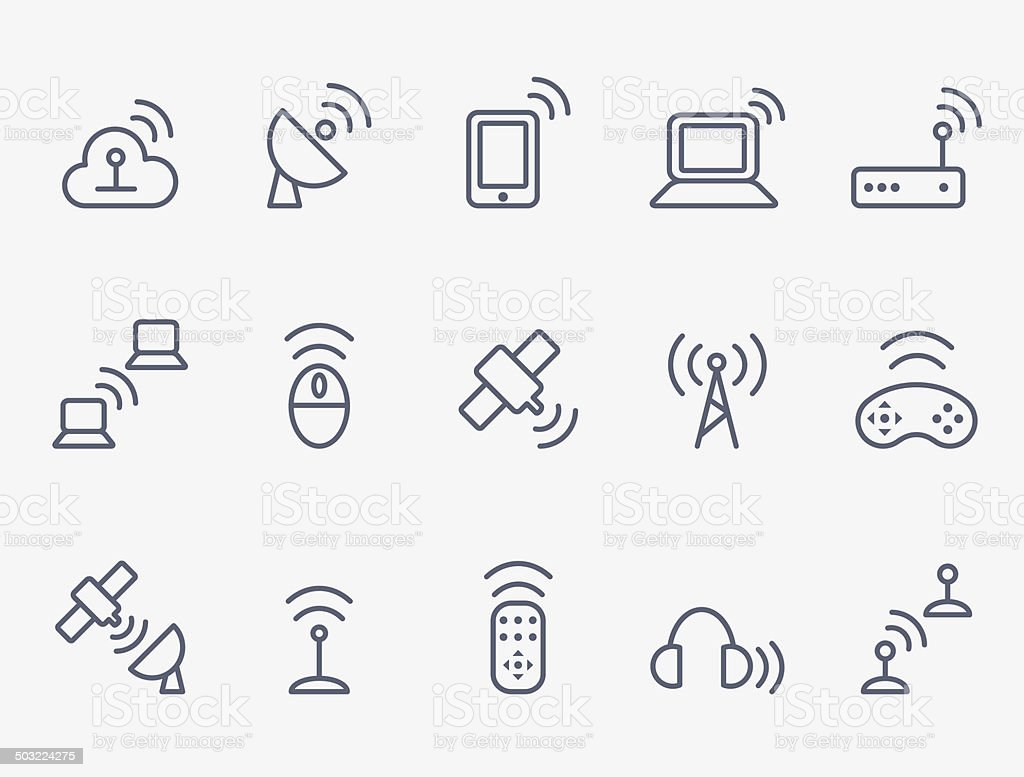 Wireless icon set vector art illustration