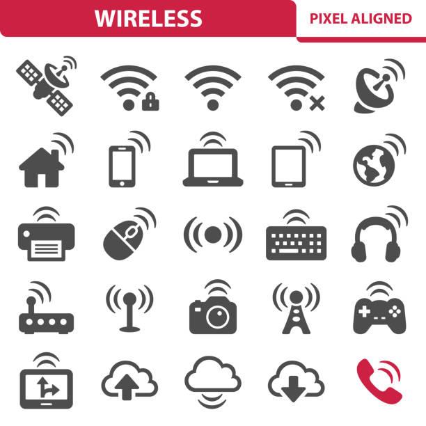 illustrazioni stock, clip art, cartoni animati e icone di tendenza di icone wireless - video call