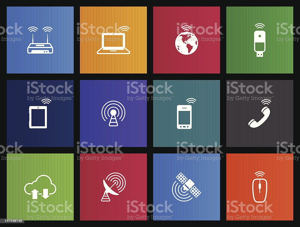 Wireless Icons vector art illustration