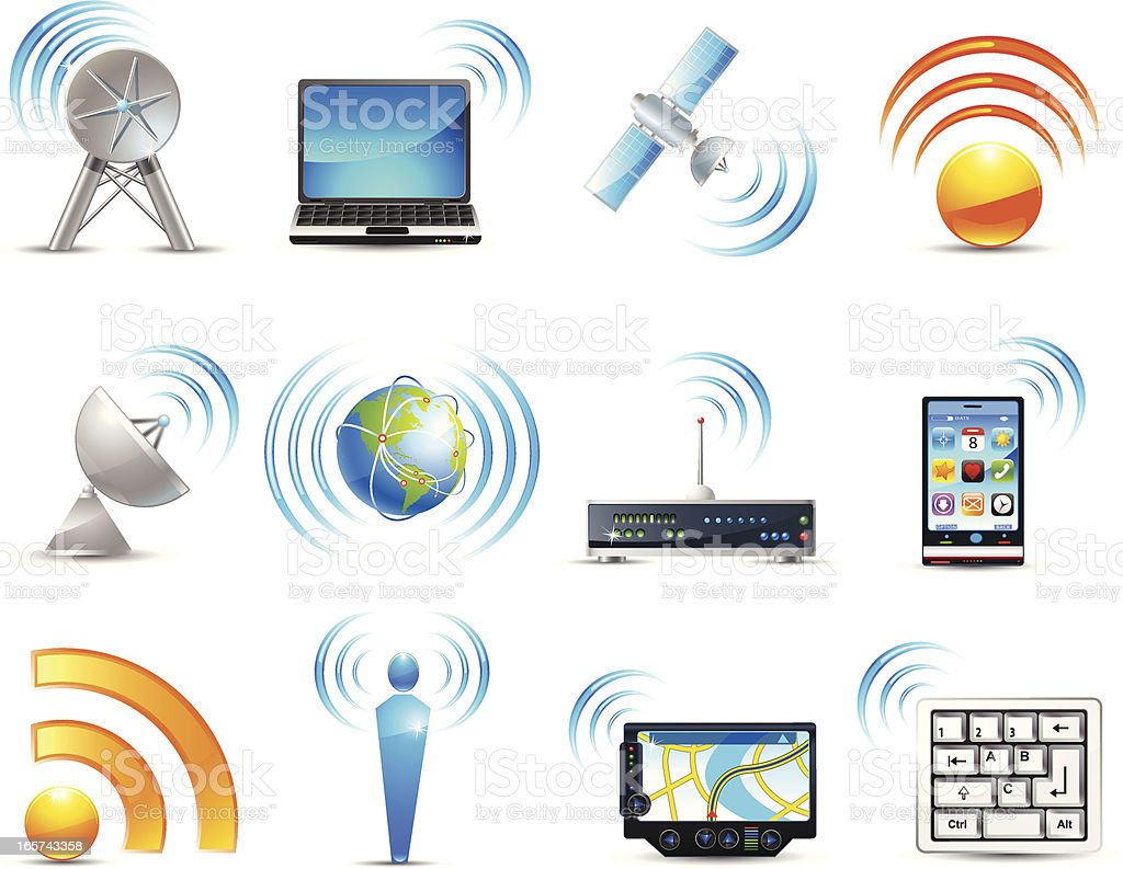 Wireless icons royalty-free stock vector art