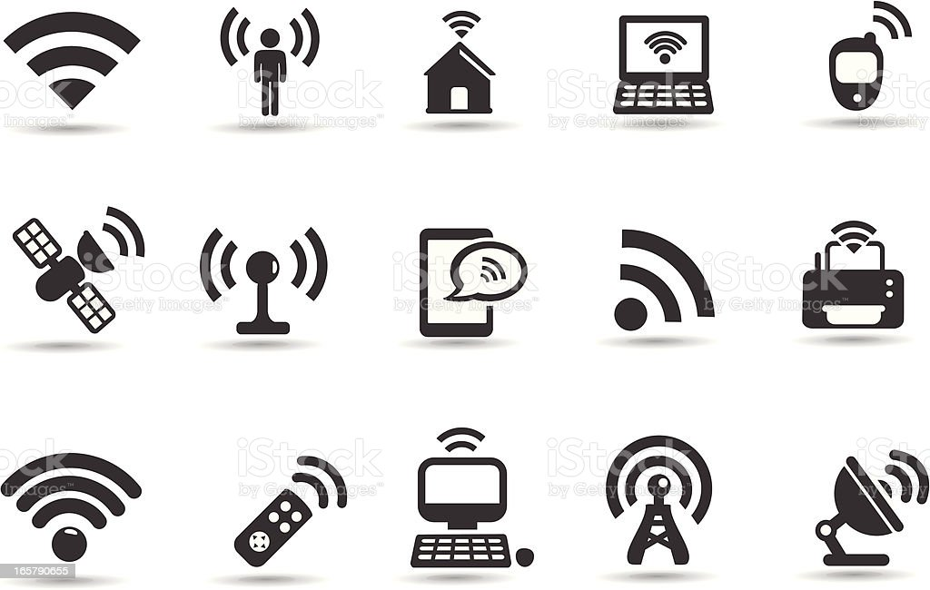 Wireless Icons vector art illustration