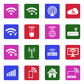 Wireless Icons. White Flat Design In Square. Vector Illustration.