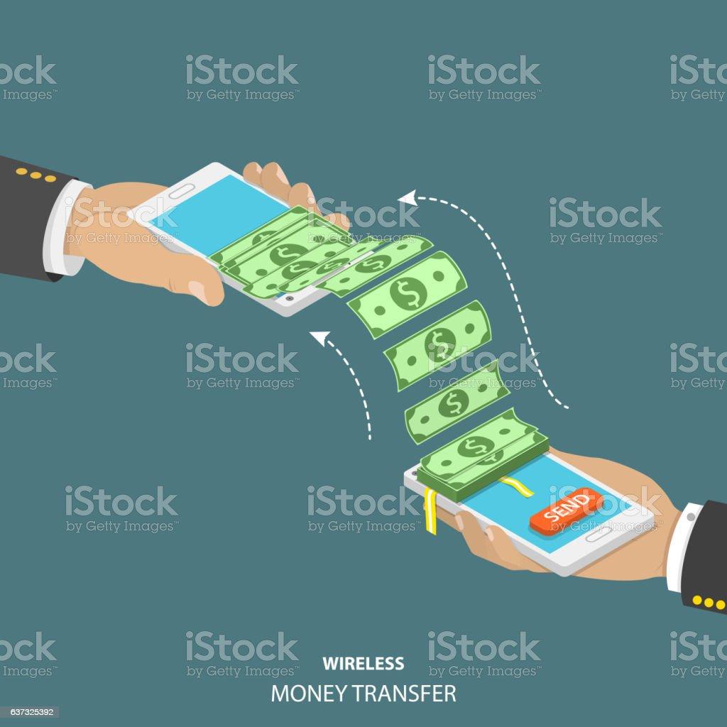 Wireless money transfer isometric vector illustration. vector art illustration
