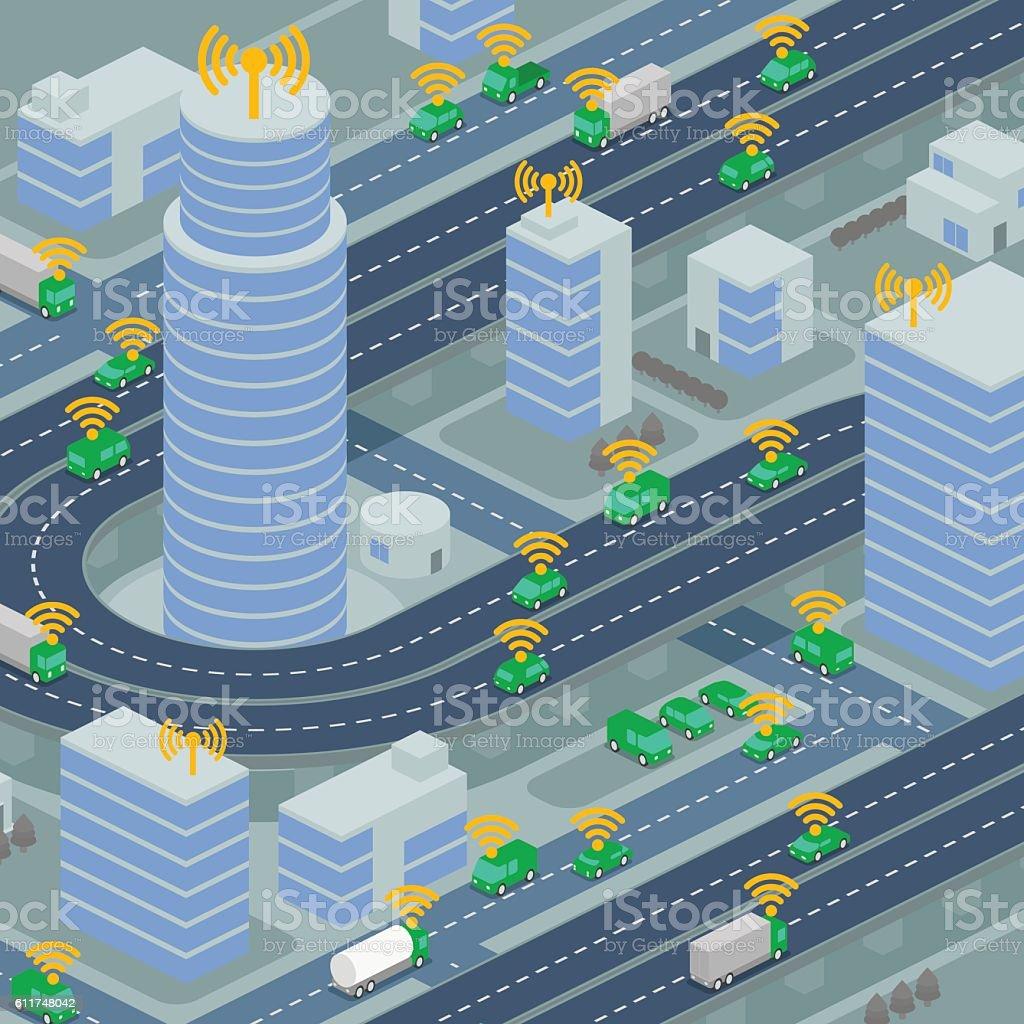 Wireless network of vehicle image illustration vector art illustration