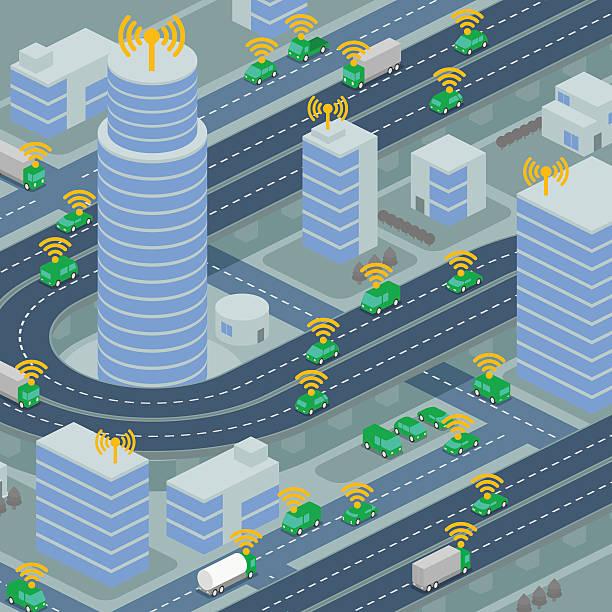 wireless network of vehicle image illustration - selbstfahrende autos stock-grafiken, -clipart, -cartoons und -symbole