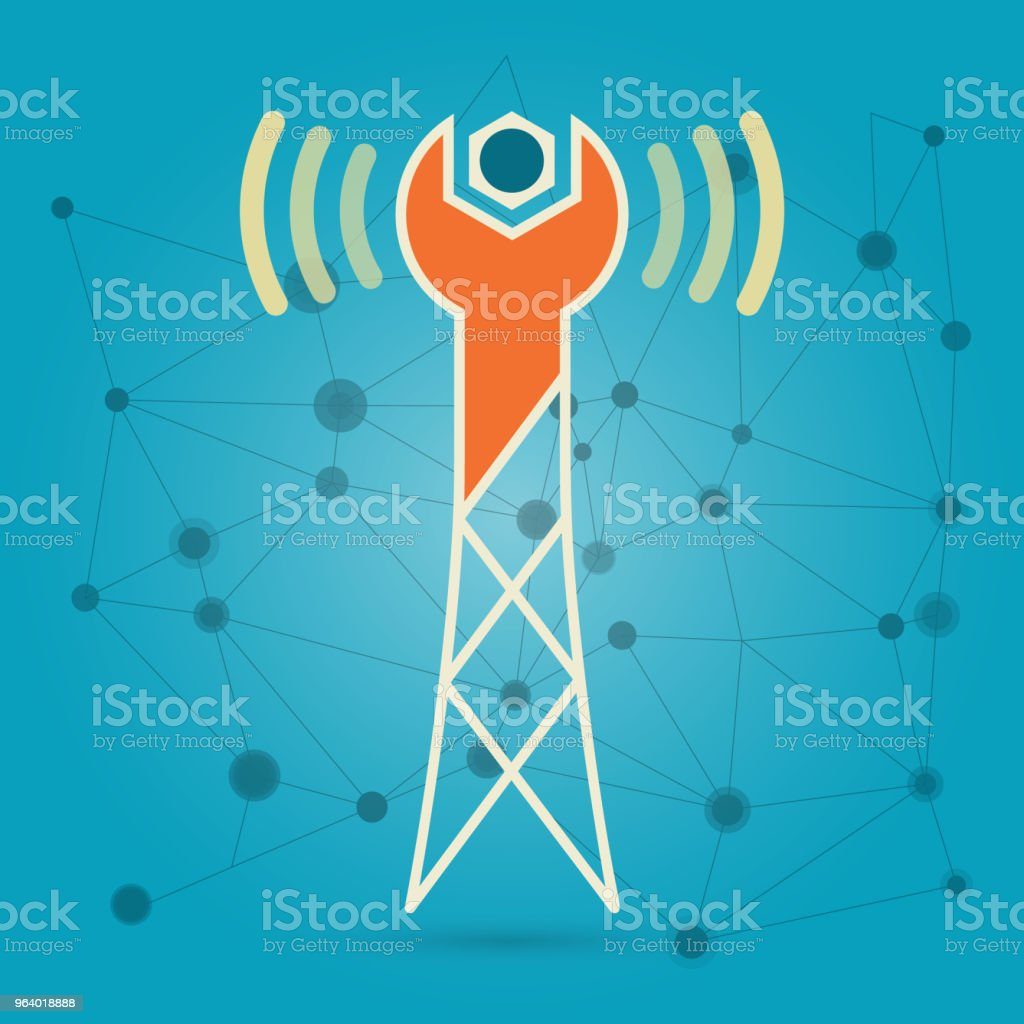 Wireless network repair creative conceptual logotype icon design - Royalty-free Antenna - Aerial stock vector