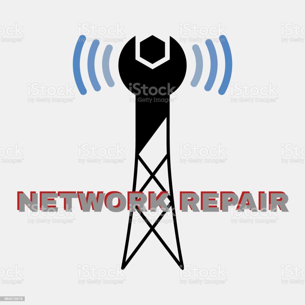 Wireless network repair logo - Royalty-free Antenna - Aerial stock vector