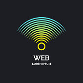Wireless network sign on dark background. Vector illustration of Wi Fi.