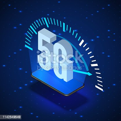 5G Wireless Network Systems. Mobile Internet Technology. Isometric Banner 5G Network Technology. Vector illustration
