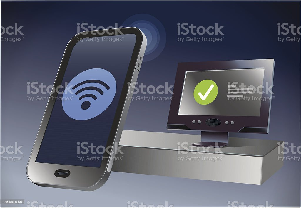 Wireless nfc phone paying royalty-free stock vector art