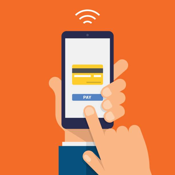 wireless payment icon. payment page and credit card on smartphone screen. modern flat design illustration. - hand holding phone stock illustrations