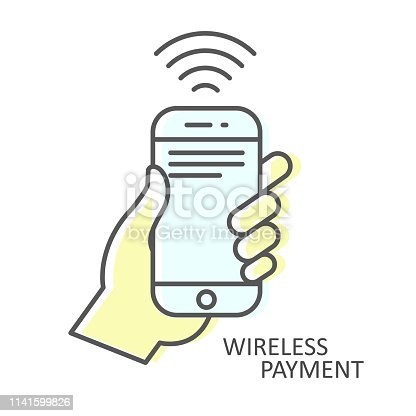 Wireless Payment icon - smartphone In hand, NFC transaction