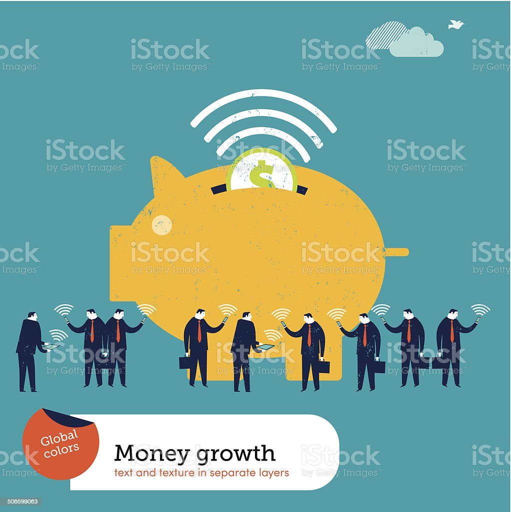 Wireless Piggy Bank royalty-free wireless piggy bank stock vector art & more images of 'at' symbol