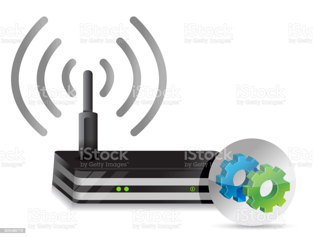 Wireless Router and gears illustration design over a white background vector art illustration